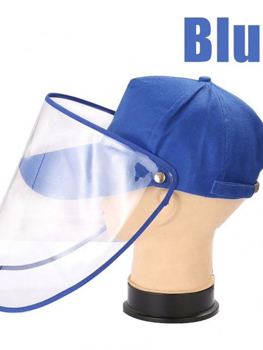 Classic Blue Baseball Hat With Protection Face Shields
