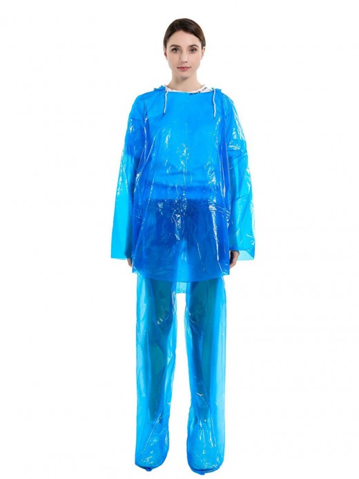 Blue Dust-Proof Raincoat Set Outdoor Protection Fashionable Design