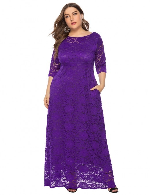 Dark Purple Floor-Sweeping Lace Solid Color Maxi Dress Lightweight