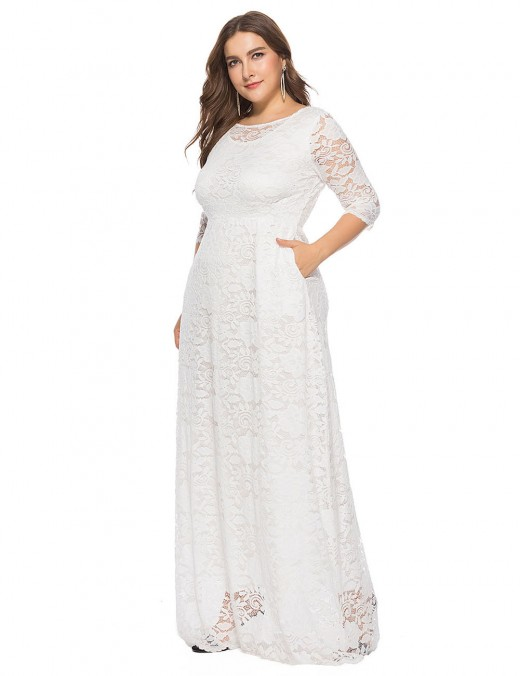Perfectly White Floor-Length Solid Color Dress Half Sleeve Comfort Fit