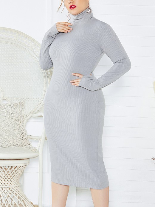 Elaborate Gray Large Size Long-sleeved High Clloar Women Dress Fashion Comfort