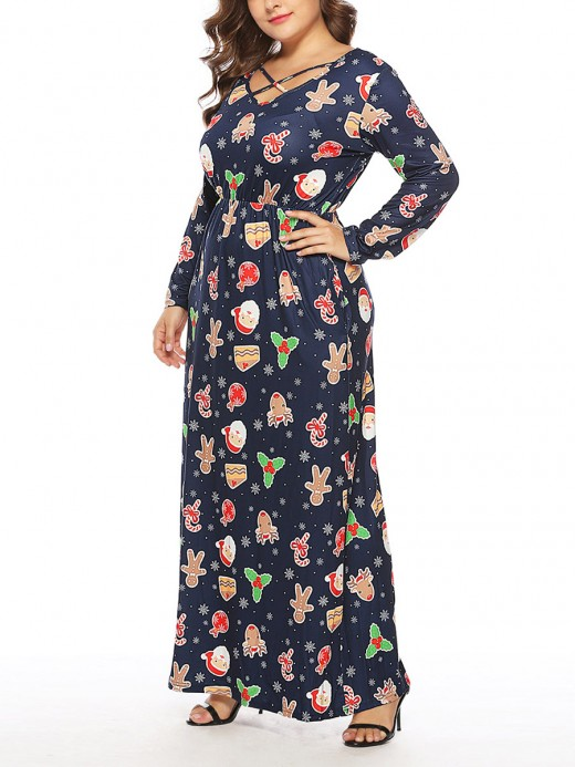 Bright Dark Blue Christmas Print Full Sleeve Maxi Dress Lady Fashion