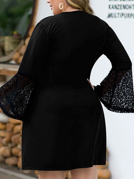 Stretch Black Double-Breasted Big Size Dress Lace Newest Fashion