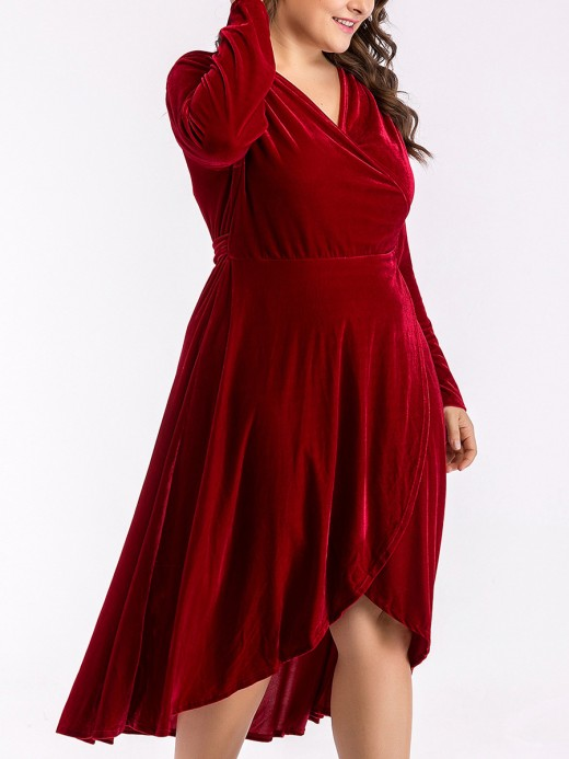 Dynamic Wine Red Plus Size Dress High-Low Hem Tie For Party Days
