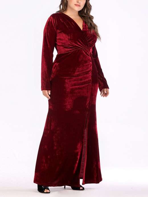 Fiercely Wine Red High Slit Deep-V Neck Maxi Dress Good Elasticity