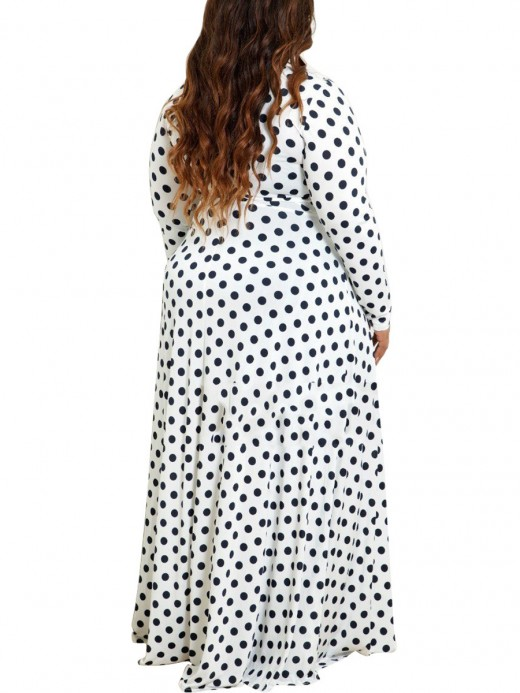 Eye Catching Polka Dot Printed Plus Size Maxi Dress Classic Fashion
