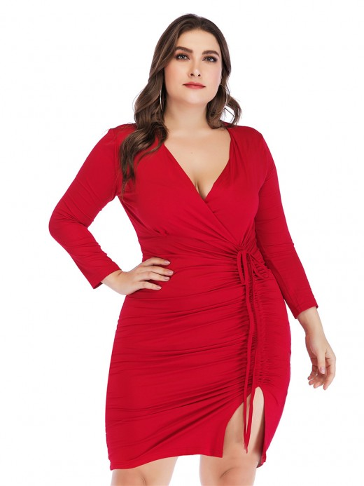 Exotic Red Queen Size Drawstring Bodycon Dress Shop Online