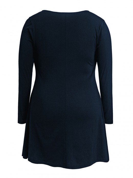 Exotic Paradise Dark Blue Long Sleeve Solid Color Big Size Dress
