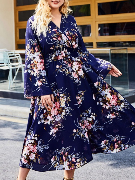 Most Comfortable Dark Blue Maxi Dress Floral Pattern Big Size Fashion