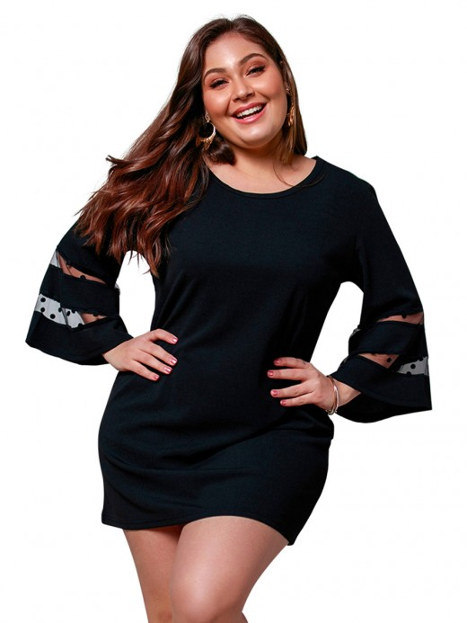 Honeymoon Black Bell Sleeve Queen Size Dress Lace For Happy Days