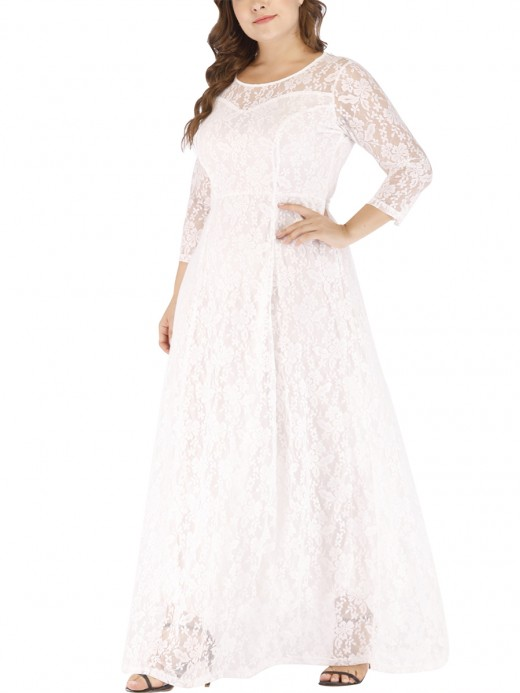 Scintillating White 3/4 Sleeve Large Size Dress Lace For Sexy Women