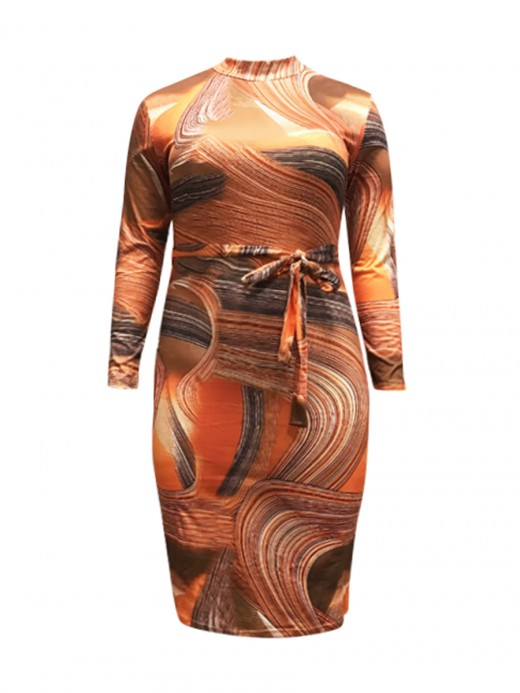 Heartthrob Large Size Knot Waist Bodycon Dress For Woman