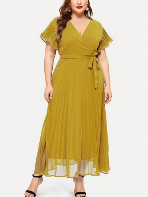 Dainty Yellow Plus Size Dress Ruffled Waist Tie Outfit