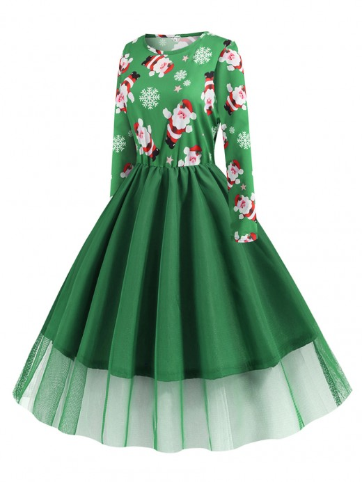 Desirable Designed Green Round Neck Skater Dress Large Size