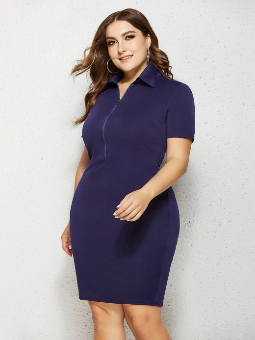 Remarkable Dark Blue Short Sleeve Midi Dress Queen Size Soft