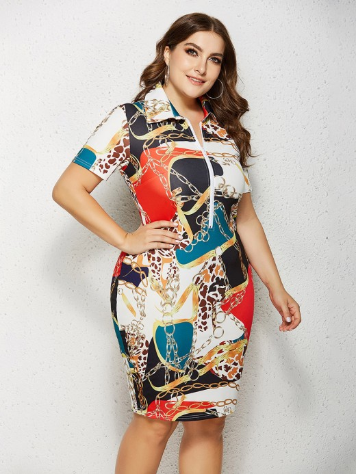 Glorious Midi Dress Turndown Neck Plus Size Female Grace