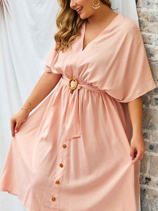 Comfortable Pink High Waist Half Sleeve Midi Dress Classic Fashion