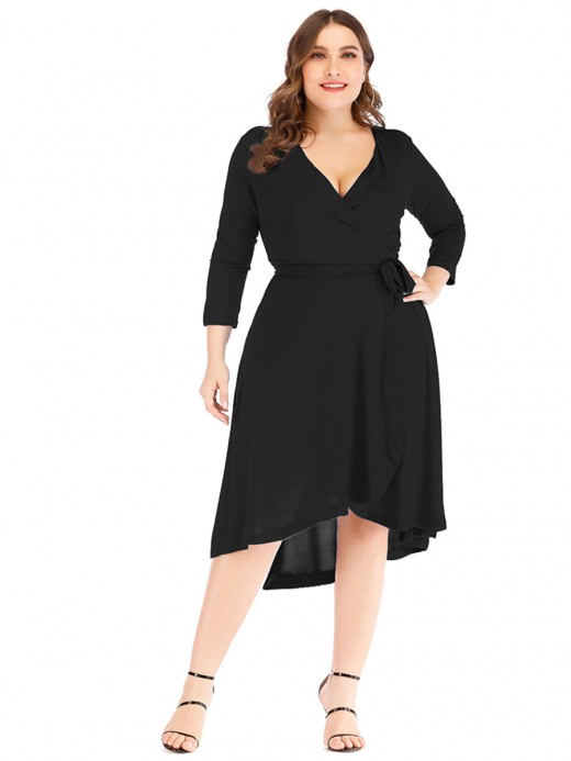 Tailored Black Irregular Hem Big Size Dress V-Neck Vacation Time