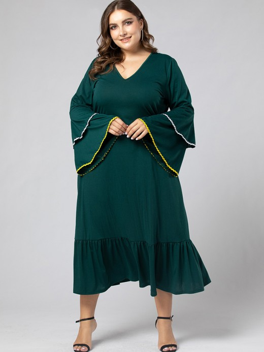 Green Tiered-Sleeve Big Size Dress Pleated Honeymoon