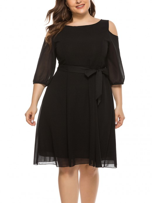 Glossy Black Cutout Shoulder Plus Size Dress Crewneck Form Fitting