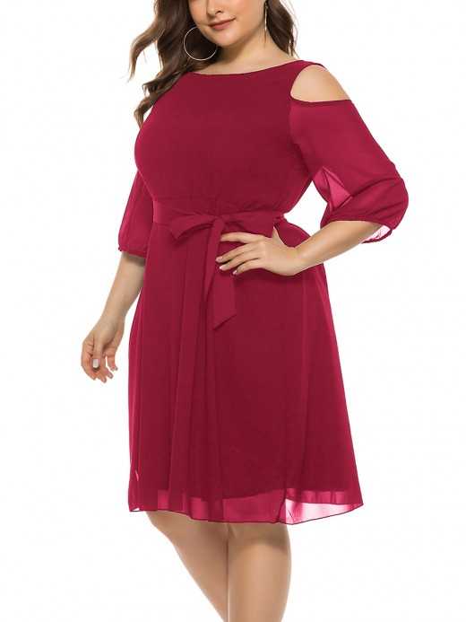 Creative Red 3/4 Sleeve Large Size Dress Tie Waist Natural Women