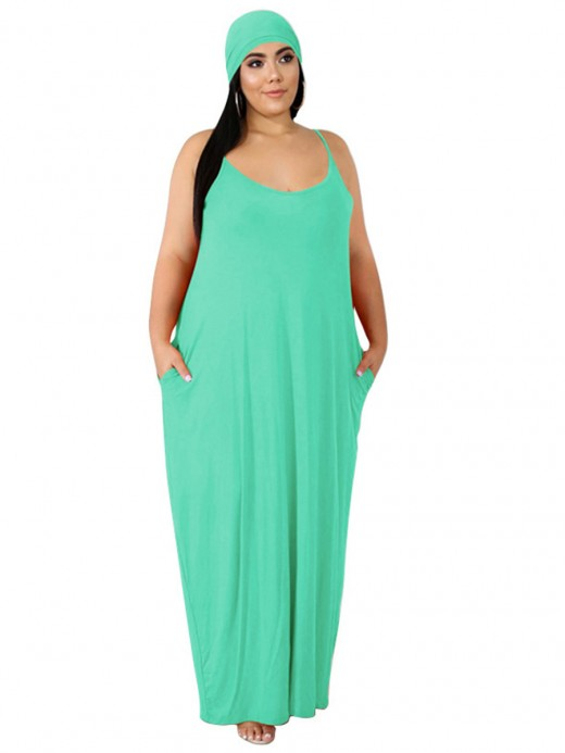 Vibrant Light Green Maxi Length Strap Big Size Dress Outdoor