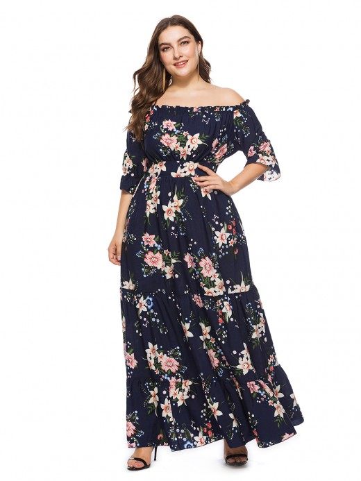 Captivating Purplish Blue Large Size Off-Shoulder Maxi Dress
