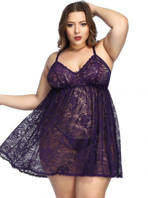 Lovely Dark Purple Plus Size Babydoll Adjustable Strap Fashion Design