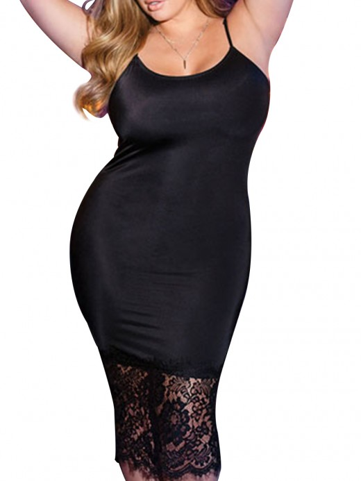 Magical Black U-Neck High Stretch Big Size Dress Romantic Sleepwear