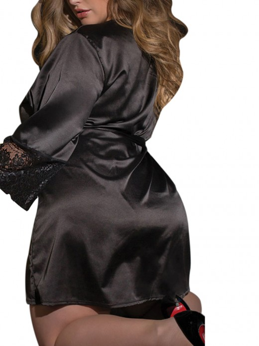 Nicely Black Solid Color Queen Size Nightgown Love Forever