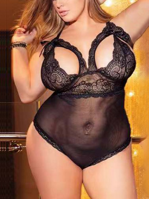 Luxurious Black Hollow Out Adjustable Strap Lace Teddy Heartbreaker