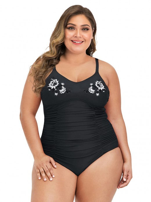 Ingenious Black Plus Size Swimwear Pleated Strap For Beach Days