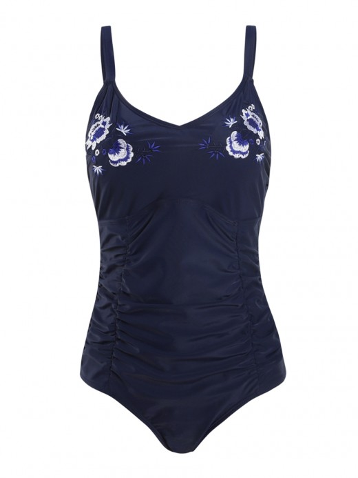 Dark Blue Ruched Swimsuit High Cut Embroidery Trend For Women
