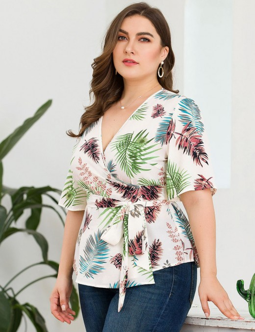 Daring White Leaf Pattern Deep-V Neck Plus Size Top Ladies