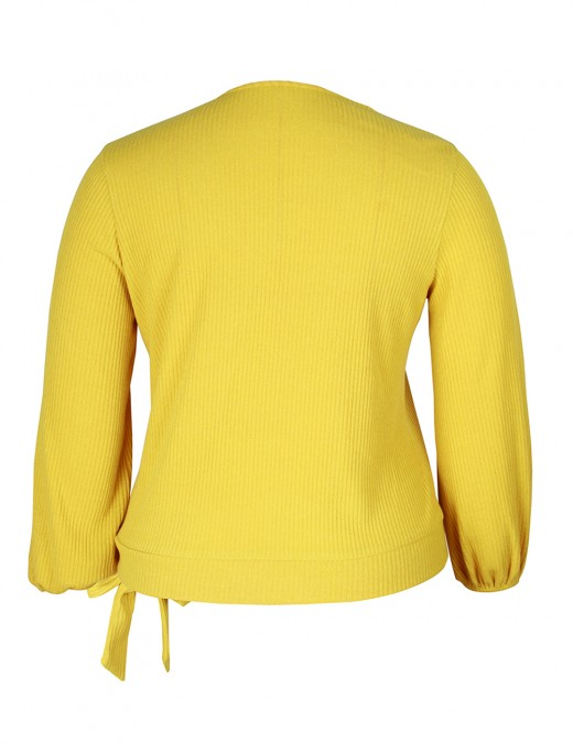 Yellow Sweater Oblique Button Bishop Sleeve Knotted Summer Fashion