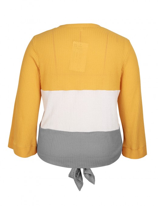 Elegant Yellow Tie Front Button Patchwork Big Size Sweater Modern Fashion
