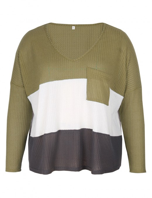 Splendid Army Green Big Size Sweater Rounded Hem Patchwork Feminine Grace