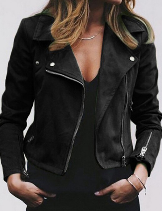 Appealing Black Oblique Zipper Solid Color Large Size Jacket Comfort Fabric