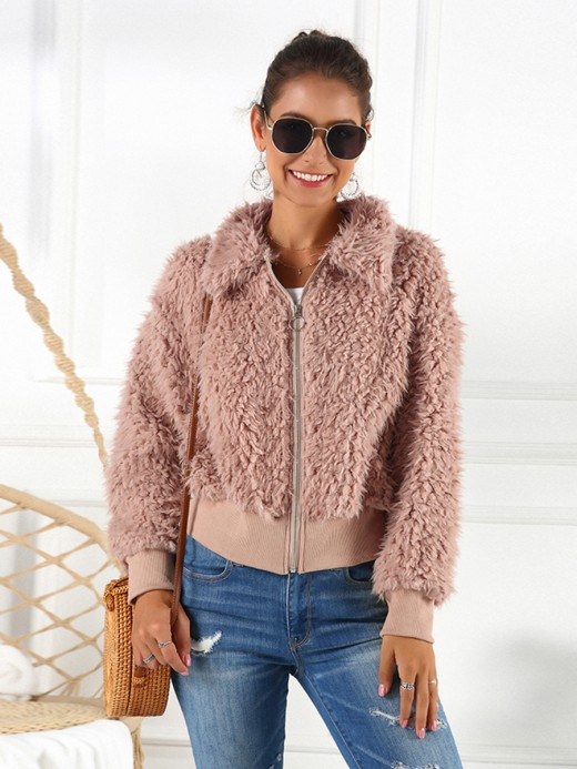 Super Queen Size Faux Fur Zipper Jacket
