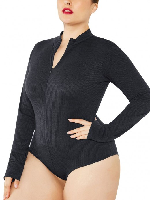 Surfing Black Large Size Long-Sleeved Bodysuit Zip For Traveling