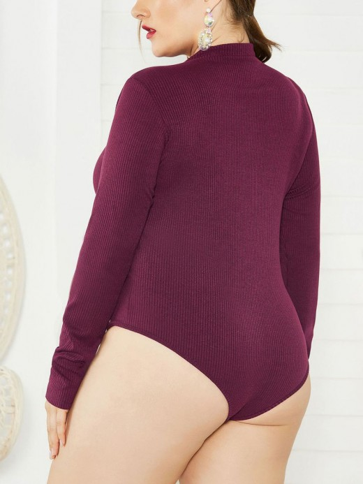 Sultry Wine Red Plus Size Knitted Bodysuit Zipper Beach Party