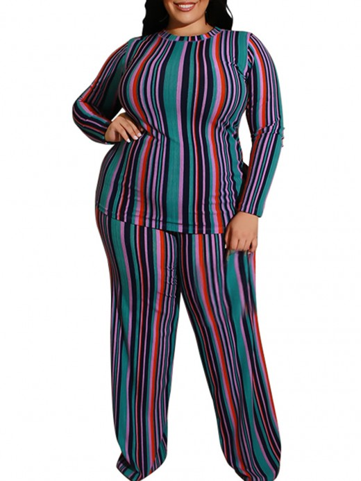 Refreshing Green Stripe Print Plus Size Top Pants Suit Sale Online