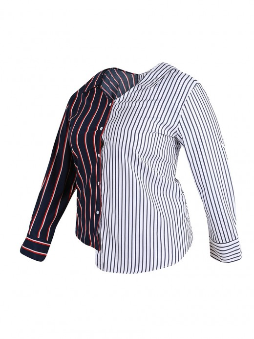 Explicitly Chosen Large Size Shirt Patchwork Button Cheap Online