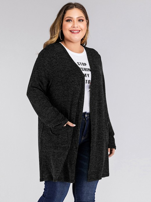 Fabulous Black Open Front Long Sleeve Cardigan Pocket Online Wholesale