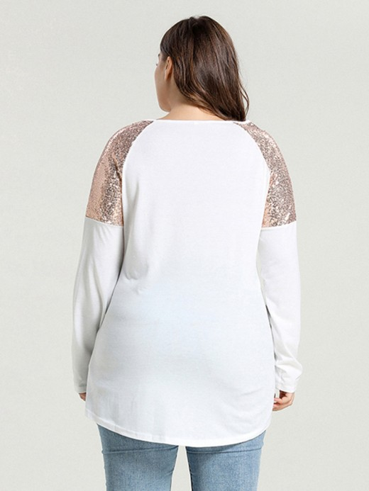 Leisure White Round Collar Long Sleeve Sequin Shirt Comfort
