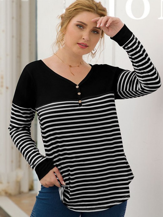 Super Sexy Black Stripe Patchwork Shirt Large Size Outdoor