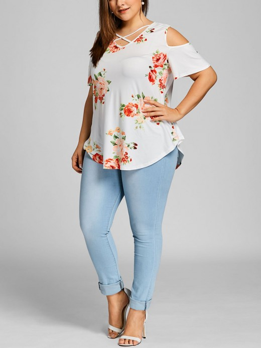 Delicate White Big Size Top Short Sleeve Floral Print Unique