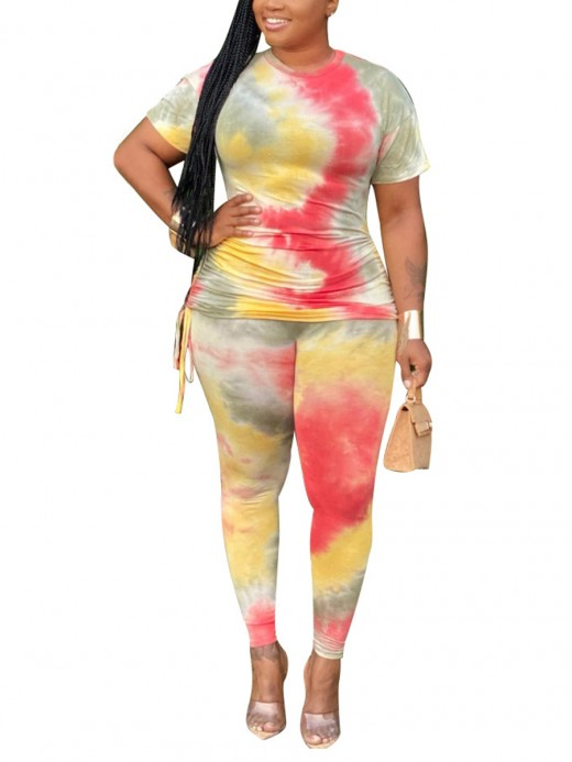Special Yellow Tie-Dye Side Tie Top Long Pants Set Women's Apparel