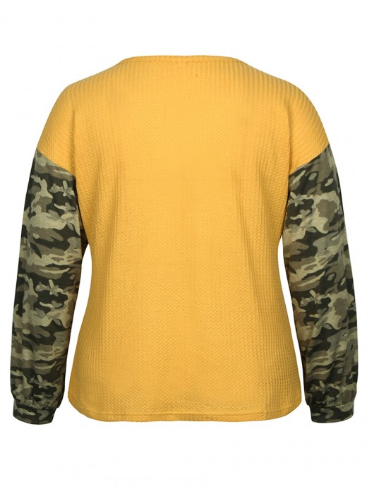 Dainty Yellow V Collar Shirt Camo Splice Big Size Chic Online