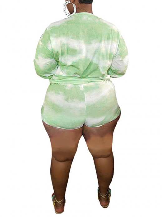 Stunning Green Tie-Dye Print Two-Piece Large Size High Quality